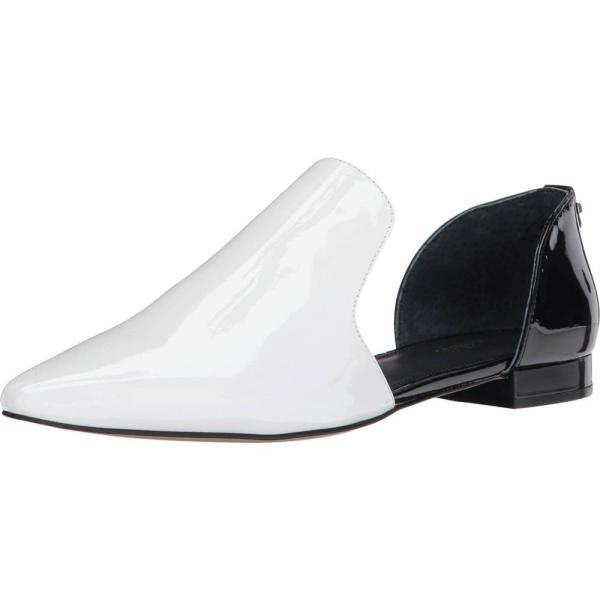 カルバンクライン レディース スリッポン・フラット シューズ・靴 Edona White/Black Patent