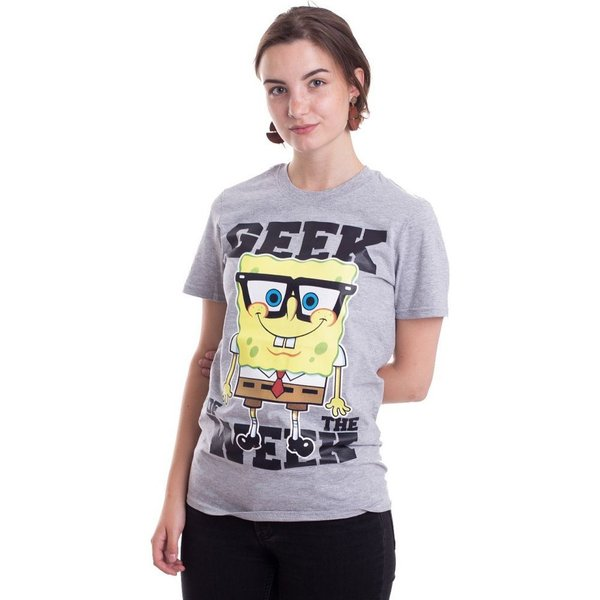 スポンジ ボブ SpongeBob SquarePants レディース Tシャツ トップス - Geek Of The Week Heather Grey - T-Shirt grey