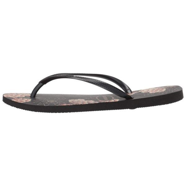 ハワイアナス Havaianas レディース ビーチサンダル シューズ・靴 Slim Organic Flip Flops Black/Dark Grey Metallic