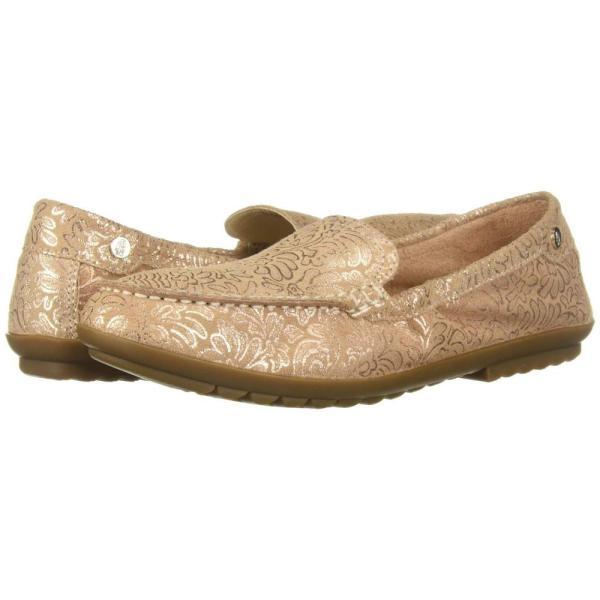 ハッシュパピー Hush Puppies レディース スリッポン・フラット シューズ・靴 Aidi Mocc Slip-On Pale Peach Metallic Print Leather
