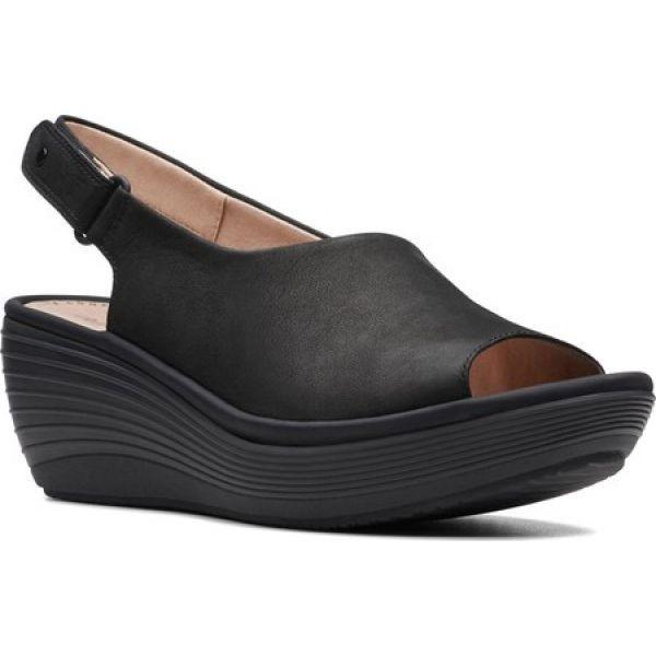 クラークス Clarks レディース サンダル・ミュール ウェッジソール シューズ・靴 Reedly Shaina Wedge Sandal Black Nubuck|fermart-shoes