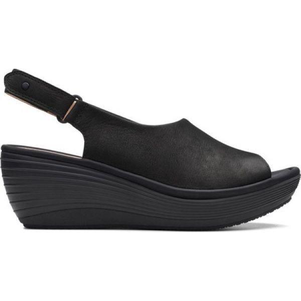 クラークス Clarks レディース サンダル・ミュール ウェッジソール シューズ・靴 Reedly Shaina Wedge Sandal Black Nubuck|fermart-shoes|02