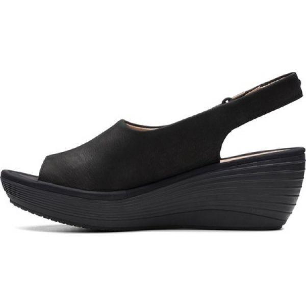 クラークス Clarks レディース サンダル・ミュール ウェッジソール シューズ・靴 Reedly Shaina Wedge Sandal Black Nubuck|fermart-shoes|03