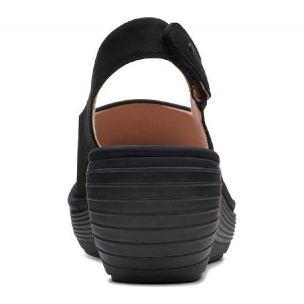 クラークス Clarks レディース サンダル・ミュール ウェッジソール シューズ・靴 Reedly Shaina Wedge Sandal Black Nubuck|fermart-shoes|04