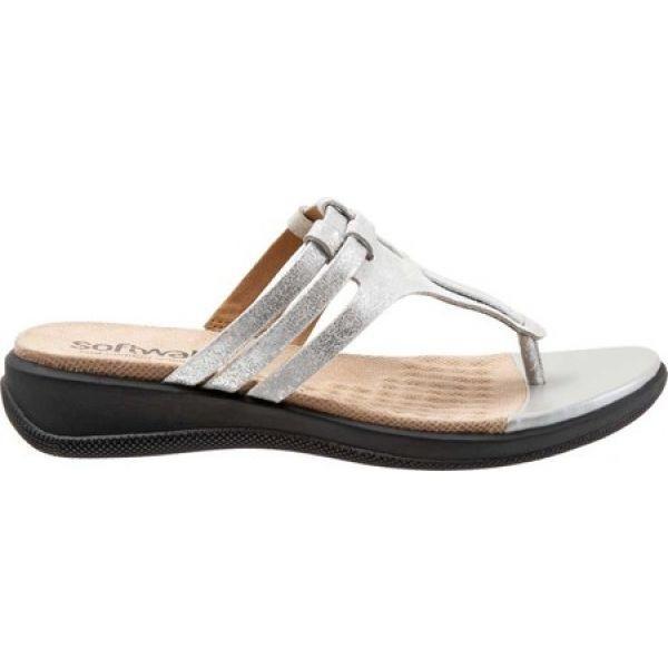 ソフトウォーク SoftWalk レディース ビーチサンダル シューズ・靴 Tracy Thong Sandal Silver Leather