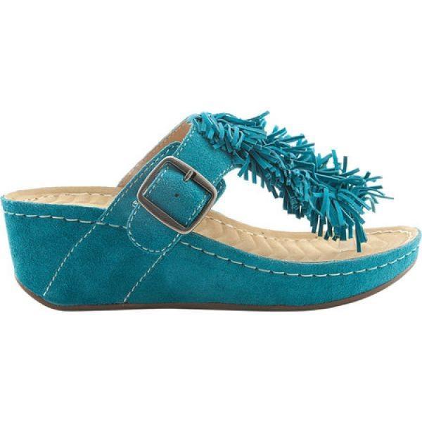 デイビッド テイト David Tate レディース ビーチサンダル シューズ・靴 Festive Thong Sandal Teal Suede