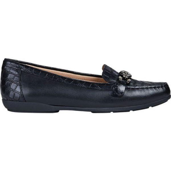 ジェオックス Geox レディース ローファー・オックスフォード シューズ・靴 Annytah Moc Loafer D92BMA Black Full Grain Leather