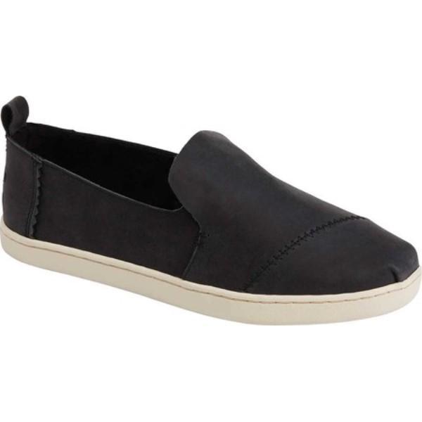 トムス レディース エスパドリーユ シューズ・靴 Deconstructed Alpargata Espadrille Black Leather
