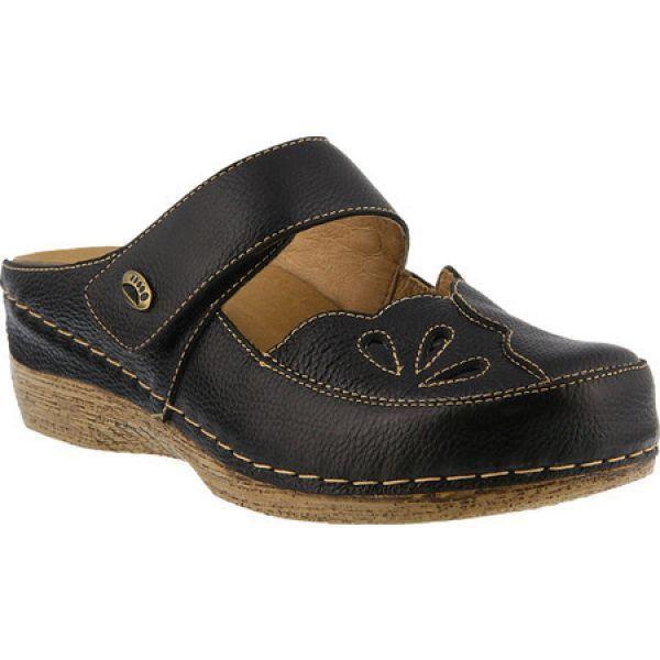 スプリングステップ レディース クロッグ シューズ・靴 Carlotta Clog Black Full Grain Leather