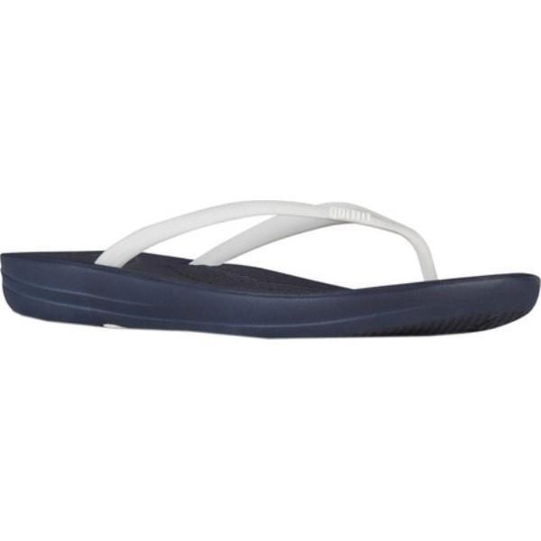 フィットフロップ レディース ビーチサンダル シューズ・靴 iQushion Ergonomic Flip-Flop Midnight Navy/White