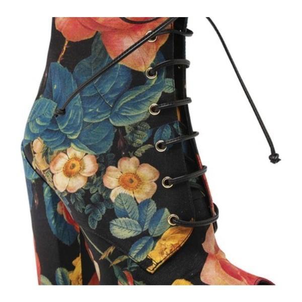 ファウスト パグリッシ レディース ブーツ シューズ・靴 Floral Print Lace-up Bootie Fiori Rose Nero Fabric