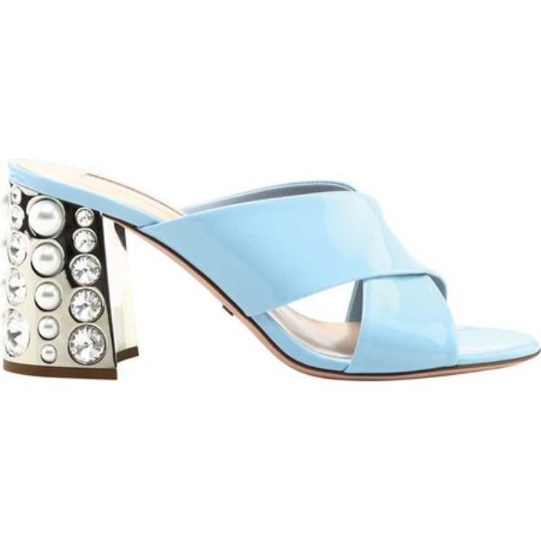 セバスチャン レディース サンダル・ミュール シューズ・靴 S7561 Criss Cross Heel Pearl and Crystal Detail Sky Blue Patent Leather