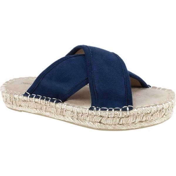 セブン ダイアルズ レディース エスパドリーユ シューズ・靴 Weekender Espadrille Slide Navy Velveteen Fabric