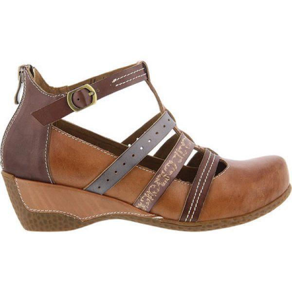スプリングステップ レディース シューズ・靴 Yulianna T-Strap Tan Leather