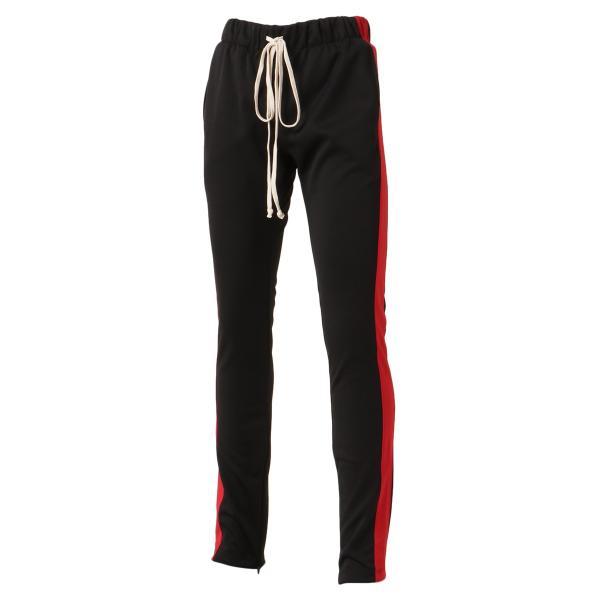 【即納】エピトミ EPTM メンズ スウェット・ジャージ ボトムス・パンツ TRACK PANTS BLACK/RED トラックパンツ 裾ジップ サイドライン|fermart-shoes