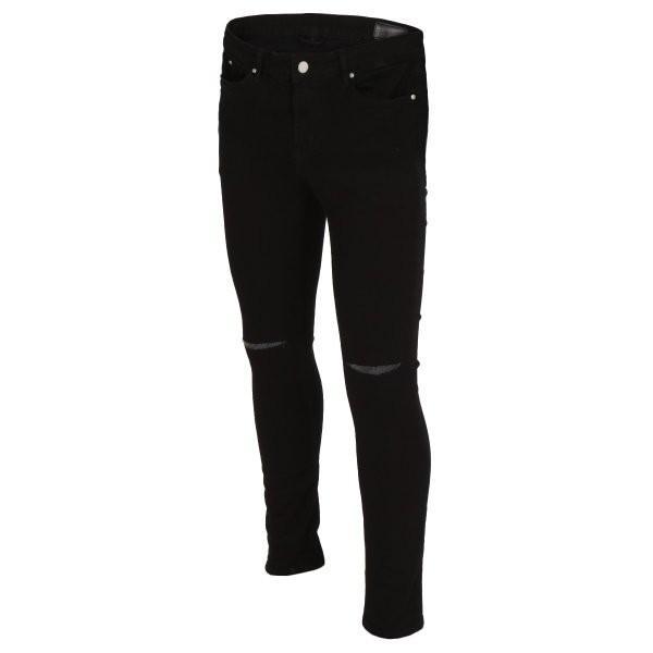 【即納】エイソス ASOS メンズ ジーンズ・デニム ボトムス・パンツ Super Skinny Jeans With Knee Rips Black|fermart-shoes