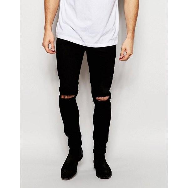 【即納】エイソス ASOS メンズ ジーンズ・デニム ボトムス・パンツ Super Skinny Jeans With Knee Rips Black|fermart-shoes|08