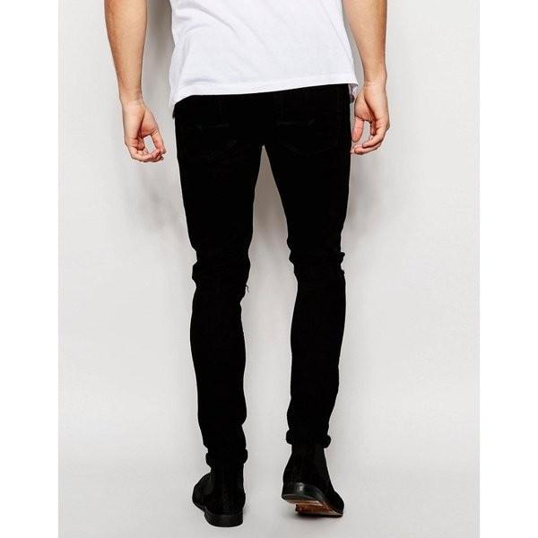 【即納】エイソス ASOS メンズ ジーンズ・デニム ボトムス・パンツ Super Skinny Jeans With Knee Rips Black|fermart-shoes|09