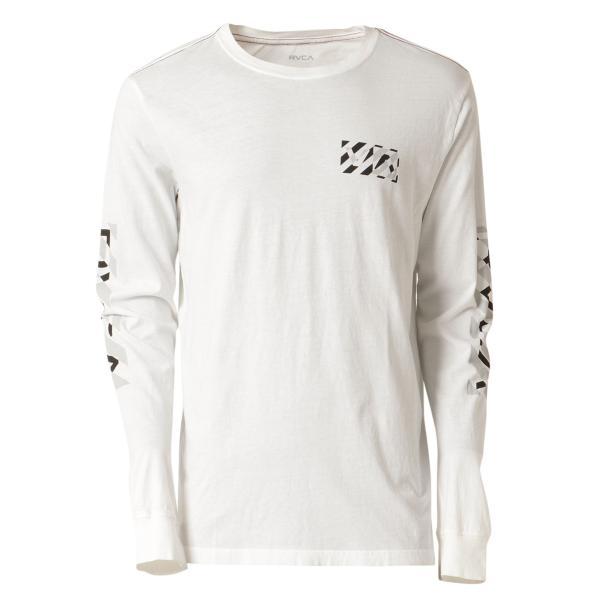 【即納】ルーカ RVCA メンズ 長袖Tシャツ トップス Hazard L/S WHITE ロンT ロングT ロゴ バイアスプリント|fermart-shoes