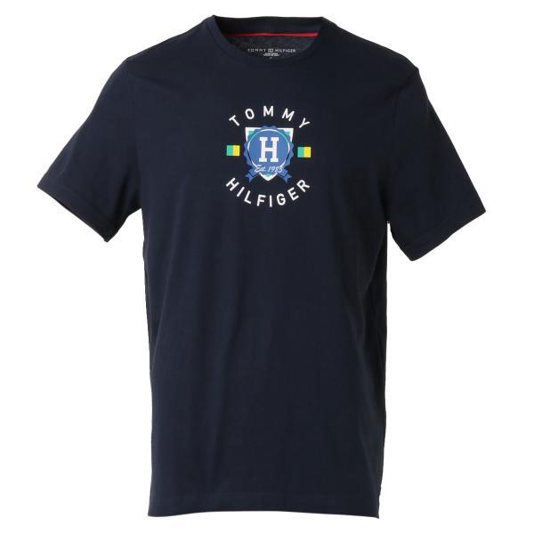 【即納】トミー ヒルフィガー Tommy Hilfiger メンズ Tシャツ トップス CREW NECK TEE DARK NAVY ロゴ クルーネック|fermart-shoes