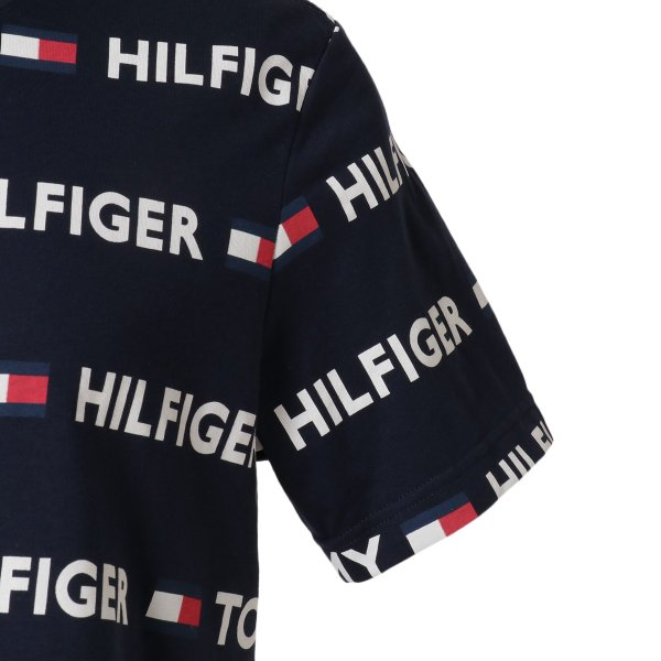【即納】トミー ヒルフィガー Tommy Hilfiger メンズ Tシャツ トップス CREW TEE DARK NAVY ロゴ 総柄 クルーネック|fermart-shoes|06