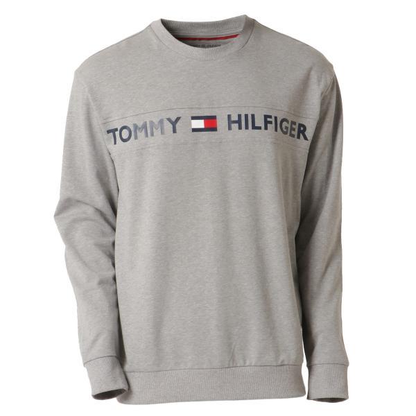 【即納】トミー ヒルフィガー Tommy Hilfiger メンズ 長袖Tシャツ トップス MODERN ESSENTIALS CREW NECK  GRAY HEATHER ロンT ロングT ロゴ プリント|fermart-shoes