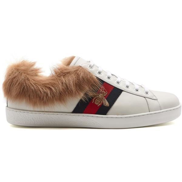 グッチ レディース スニーカー シューズ・靴 Ace bee-embroidered wool and leather trainers White