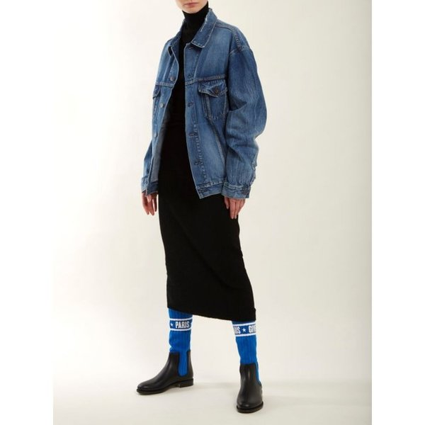 ジバンシー Givenchy レディース ブーツ シューズ・靴 Storm ribbed-knit chelsea boots Black and electric-blue