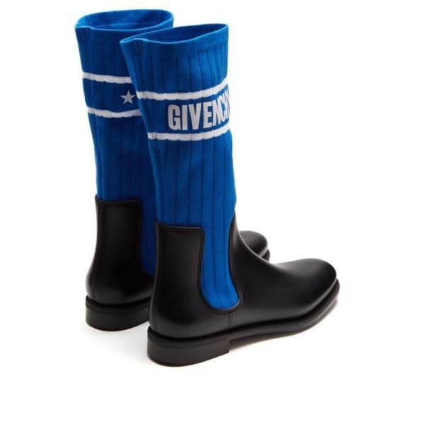 ジバンシー Givenchy レディース ブーツ シューズ・靴 Storm ribbed-knit chelsea boots Black and electric-blue