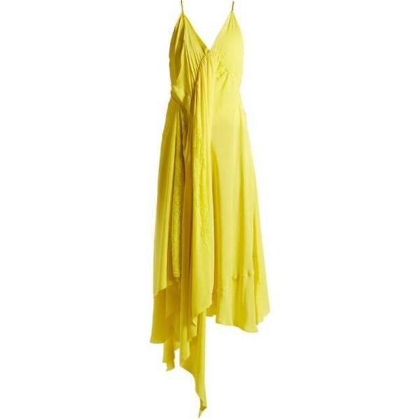 バレンシアガ レディース ワンピース ワンピース・ドレス Round-neck draped silk-crepe dress Sunflower yellow|fermart2-store