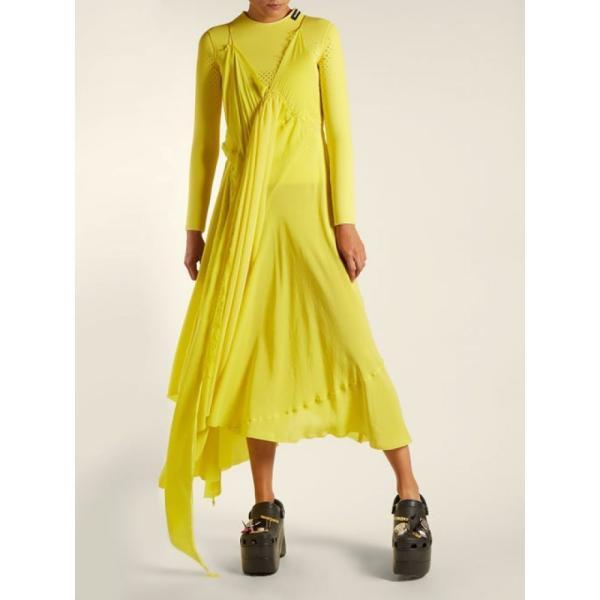 バレンシアガ レディース ワンピース ワンピース・ドレス Round-neck draped silk-crepe dress Sunflower yellow|fermart2-store|02
