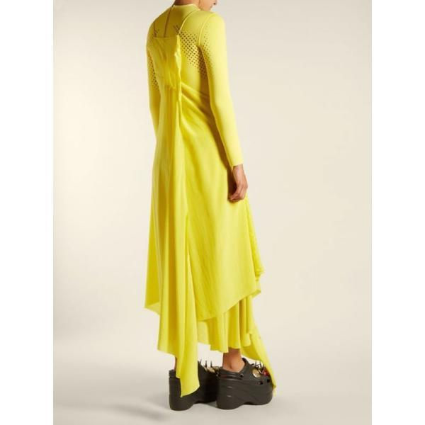 バレンシアガ レディース ワンピース ワンピース・ドレス Round-neck draped silk-crepe dress Sunflower yellow|fermart2-store|03