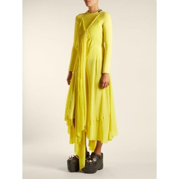 バレンシアガ レディース ワンピース ワンピース・ドレス Round-neck draped silk-crepe dress Sunflower yellow|fermart2-store|04