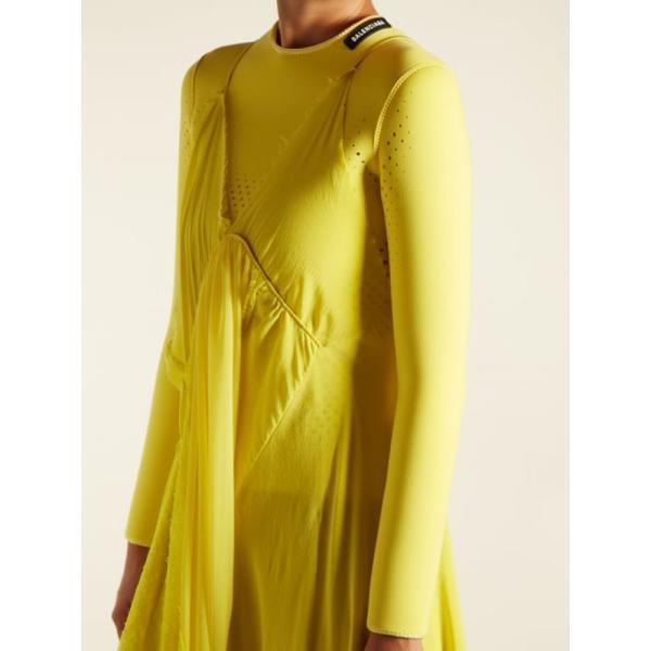 バレンシアガ レディース ワンピース ワンピース・ドレス Round-neck draped silk-crepe dress Sunflower yellow|fermart2-store|05