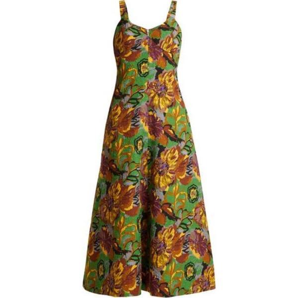 デュロ オロウ レディース ワンピース ワンピース・ドレス Floral-print V-neck textured-cloque dress Emerald-green|fermart2-store