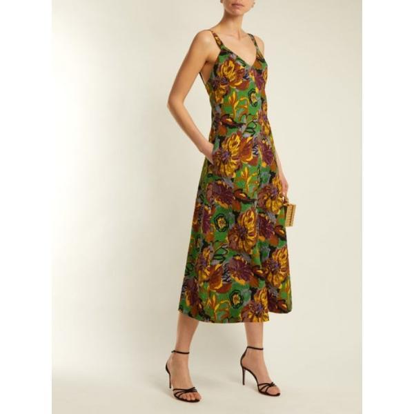 デュロ オロウ レディース ワンピース ワンピース・ドレス Floral-print V-neck textured-cloque dress Emerald-green|fermart2-store|02