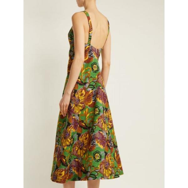 デュロ オロウ レディース ワンピース ワンピース・ドレス Floral-print V-neck textured-cloque dress Emerald-green|fermart2-store|03