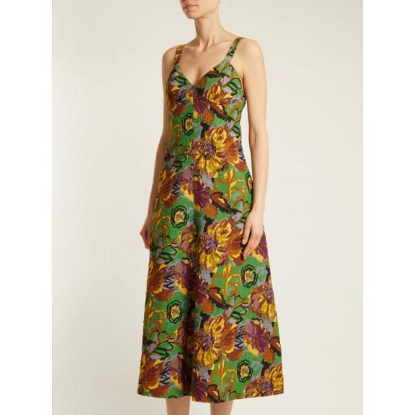 デュロ オロウ レディース ワンピース ワンピース・ドレス Floral-print V-neck textured-cloque dress Emerald-green|fermart2-store|04