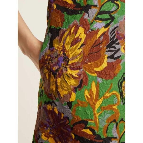 デュロ オロウ レディース ワンピース ワンピース・ドレス Floral-print V-neck textured-cloque dress Emerald-green|fermart2-store|05