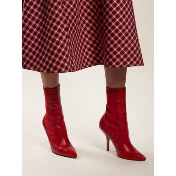 フェンディ Fendi レディース ブーツ シューズ・靴 Leather and ribbed-knit ankle boots Red