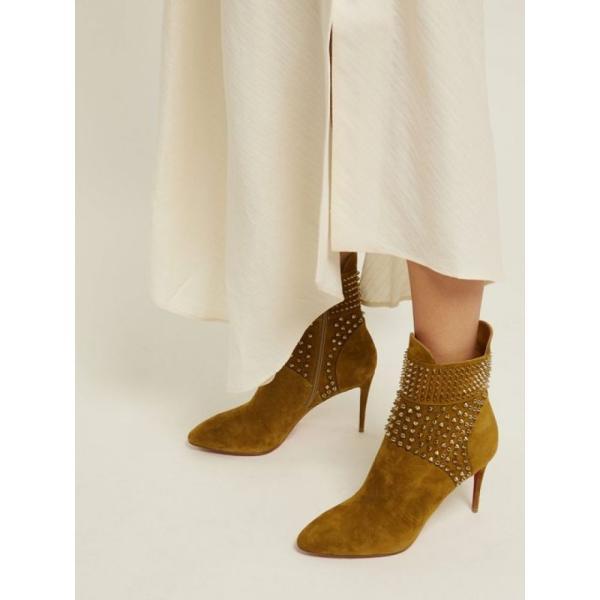 クリスチャン ルブタン Christian Louboutin レディース ブーツ シューズ・靴 Hongroise 85 studded suede boots Tan
