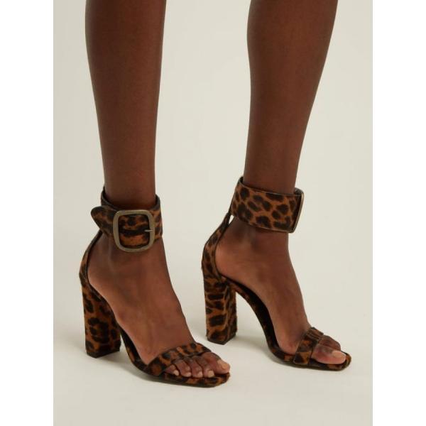 イヴ サンローラン Saint Laurent レディース サンダル・ミュール シューズ・靴 Loulou buckled leopard-print sandals Brown