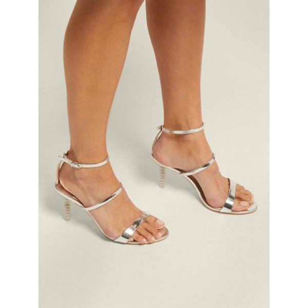 ソフィア ウェブスター Sophia Webster レディース サンダル・ミュール シューズ・靴 Rosalind crystal-embellished leather sandals Silver
