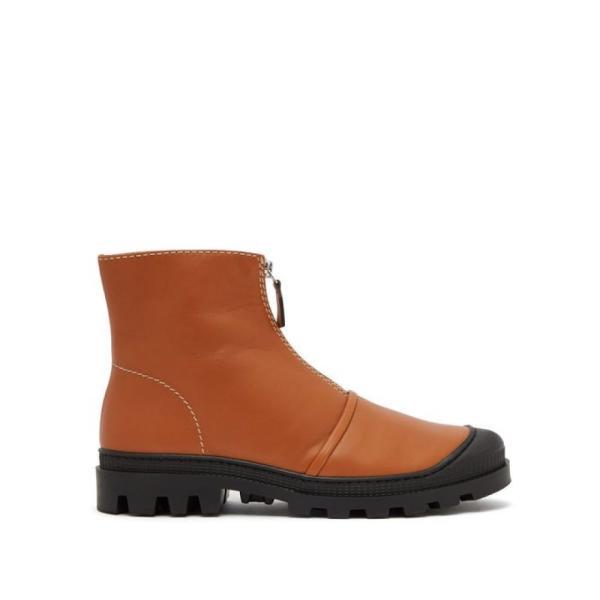 ロエベ Loewe レディース ブーツ シューズ・靴 Zip-front leather ankle boots Tan