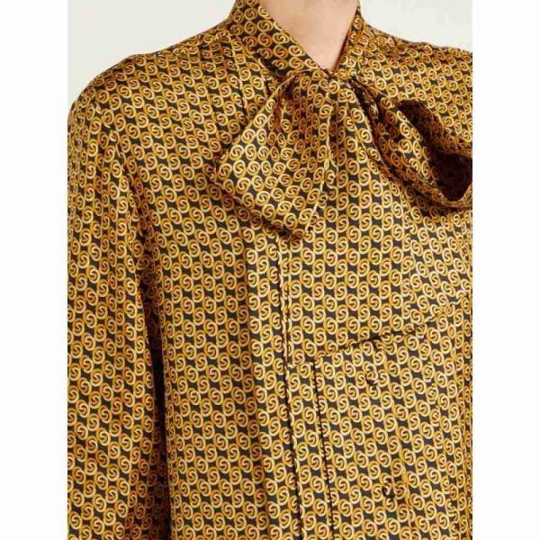 グッチ Gucci レディース ブラウス・シャツ トップス GG-print pussy-bow silk blouse black