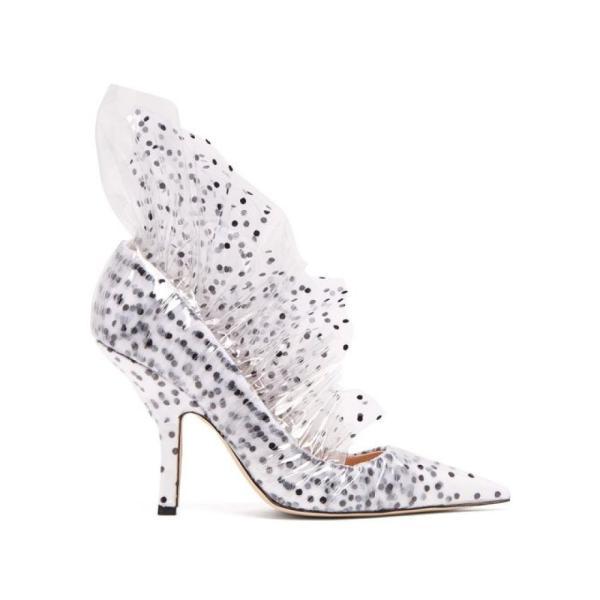 ミッドナイト 00 Midnight 00 レディース パンプス シューズ・靴 Shell polka-dot tulle & PVC pumps White