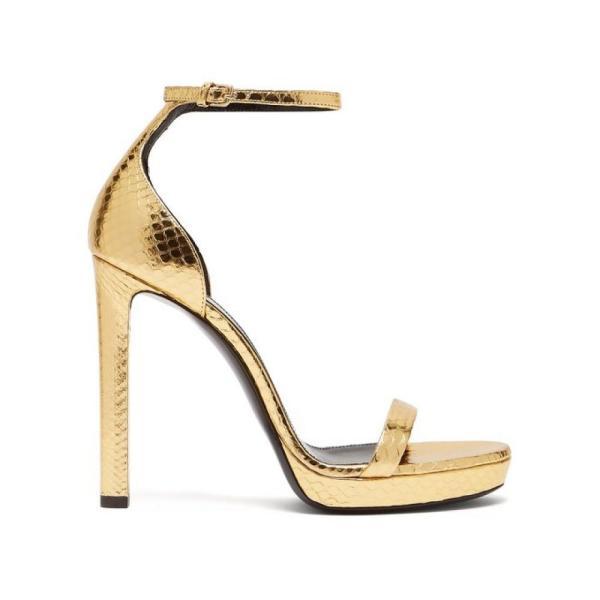 イヴ サンローラン Saint Laurent レディース サンダル・ミュール シューズ・靴 Hall 100 metallic snakeskin platform sandals Gold