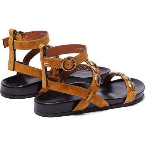 エトロ Etro レディース サンダル・ミュール シューズ・靴 Shell-embellished suede sandals Tan