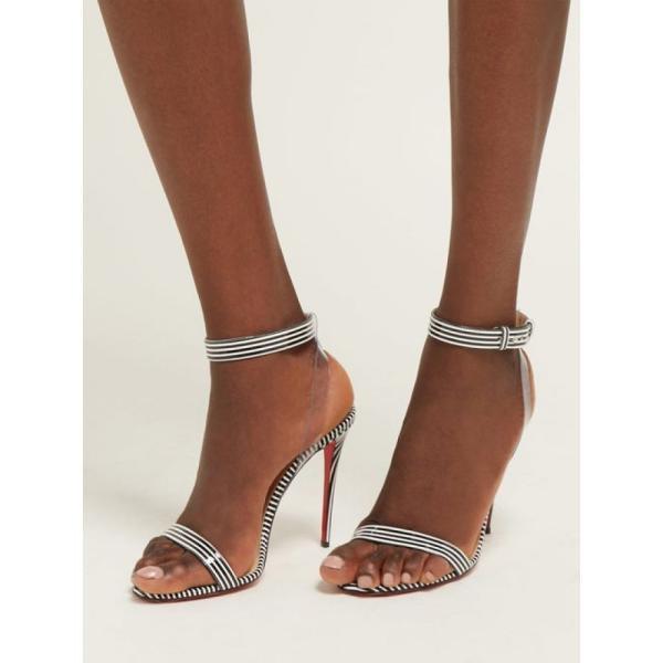 クリスチャン ルブタン Christian Louboutin レディース サンダル・ミュール シューズ・靴 Jonatina 100 striped PVC & leather sandals Black