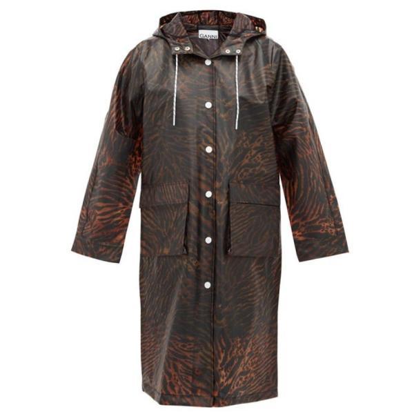 ガニー Ganni レディース レインコート アウター Tiger-print biodegradable rain coat brown